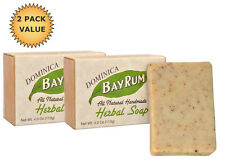 DOMINICA BAY RUM All-Natural Handmade Herbal Bay Rum Soap 2-Pack, 4oz bar x 2