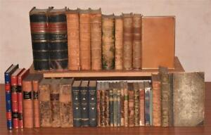 Collection of 34 Books ANTIQUE LEATHER BINDINGS 1822 Tauchnitz Scott Waverley