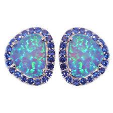 Blue Fire Opal Sapphire Silver Party Women Jewelry Gemstone Stud Earrings OH4267
