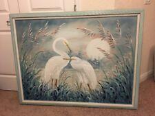 Alan Maley Huge Egret Oil Canvas Framed Painting