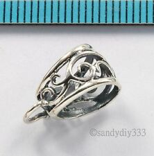 1x OXIDIZED STERLING SILVER FLOWER SLIDE BAIL PENDANT CLASP CONNECTOR  #2676