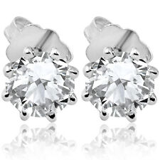 F/SI 1.25 ct Solitaire Diamond Stud 8 Prong Earrings 14K White Gold Enhanced