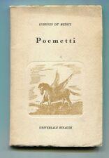 Lorenzo De Medici POEMETTI Einaudi 1943 Libro Emilio Cecchi Universale 23