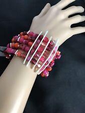 New Robert Lee Morris Soho Sculptural Wide Stretch Bangle Bracelet Beads