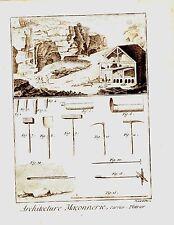 GRAVURE 18ème d' EPOQUE ARCHITECTURE MACONNERIE PLATRIER