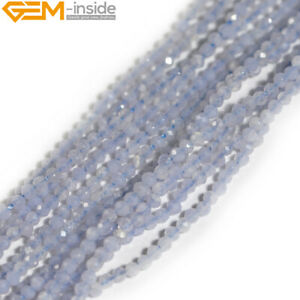 """Natural Faceted Blue Chalcedony Gems Round Spacer Beads Jewelry 15"""" 2mm 3mm 4mm"""
