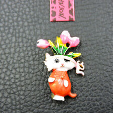 Betsey Johnson Charm Brooch Pin Gift New Multi-Color Enamel Cute Flower Cat