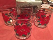 Culver Encounters Acrylic Glasses Christmas Poinsetta Set of 4 DOF Original Box