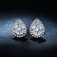 Water-drop Shaped 18K Platinum Plated Shiny CZ Gem Stud Earrings Bride Earrings