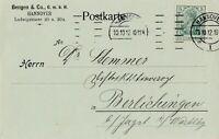Postkarte verschickt von Hannover nach Berlichingen aus dem Jahr 1912