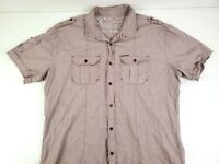 Marc Ecko Button Up Shirt Mens Short Sleeve Burgundy Cut & Sew Casual Size 2XL