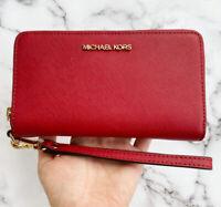 Michael Kors Jet Set Travel Large Phone Wristlet Scarlet Red Leather Wallet