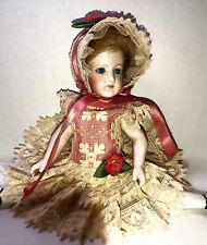 """Vtg ps, gold embroidered lace dress for German or French mignonette dolls  7.5"""""""