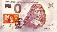 """BILLET 0 EURO SOUVENIR TOURISTIQUE DESCARTES """"La ville du philosophe"""""""