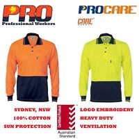 1 pack Hi Vis Polo work shirts  JC1203  fluoro Cool dry L/S  SAFETY WORKWEAR