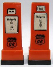 1950's PHILLIPS 66 MELCHER IA pair matched GAS PUMP salt & pepper shakers set *