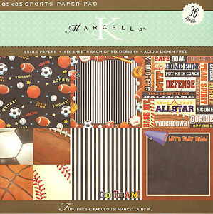 Sports 36 Sheets Scrapbooking 8.5 x 8.5 Paper Pad Marcella by K&Company New