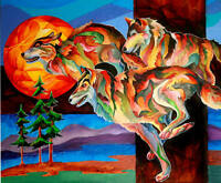 SUN DANCE Running Wolves 8X10  print by Artist Sherry Shipley