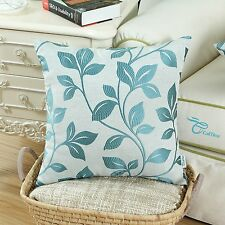 Embroidered Leaves Poly Linen Blend Cushion Covers Pillow Shells Home Decor 45cm Teal 1pc - Cover/shell