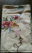 Shanghai Hand Embroidered Tablecloth & Napkin - New/Vintage 9 Piece Set - 64x82