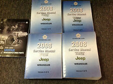 2008 JEEP WRANGLER Service Shop Repair Manual Set FACTORY W REMANU PARTS BOOK