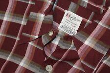 1950s COURTNEY Shadow Plaid RAYON Casual Sportswear Shirt Raspberry Rockabilly