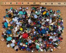 mixed lot beads - glass, gemstone, crystal, ceramic - 1.6 lbs   #E14