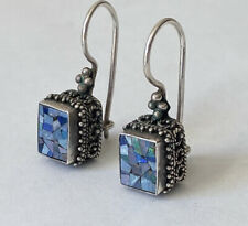 Vintage Sterling Silver Opal Mosaic Inlay Dangle Earrings Signed MNSN