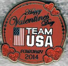Beautiful 2014 Sochi Happy Valentine's Day USA Olympic Team Collector Pin