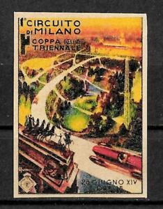 Erinnofila - 1936 - 1 Circuito di Milano - Coppa della Triennale - Gomma e ling