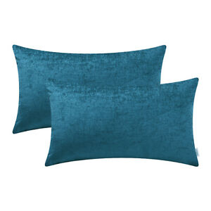 "2Pcs Deep Sea Blue Bolster Covers Pillows Shells Dyed Chenille Sofa Decor 12x20"""