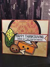 "Handmade ""HAPPY THANKSGIVING"" Turkey, Corn, Pie Funny Humorous Holiday Card"