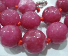 "Natural 8mm Faceted Ruby Round beads Gemstone Necklace 18""Aaa"