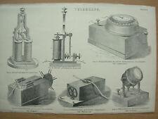 Antico 1880 Vittoriano Stampa TELEGRAFO Plate 3 automatico Wheatstone'S