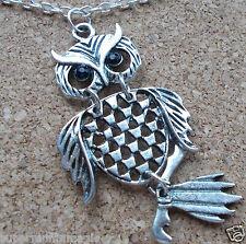 Pendant Dangle Wise OWL  Antique Silver Effect Diamante Eyes Detail Necklace