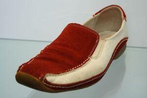 Firetti Schuhe Slipper rot weiß Leder Variobündchen Gr. 39 (UK 6)