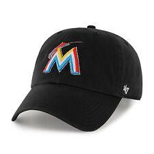 Miami Marlins 47 Brand Clean Up Adjustable Field Classic Black Hat Cap MLB