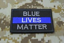 "THIN BLUE LINE POLICE BLUE LIVES MATTER SEW ON EMBROIDERED PATCH 3X2"" P115"