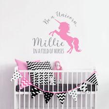 Personalised Unicorn Wall Decals Sticker Bedroom Nursery Kid Children Girl Decor