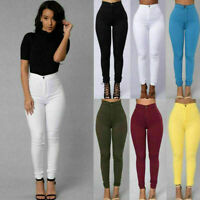 Women Pencil Stretch Skinny Jeans Feel Pants High Waist Trousers Multi Color