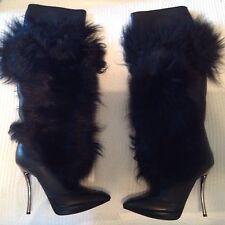 Lanvin Paris Fur knee high boots Black size 37/7 original $5000
