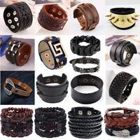 Punk Men Women Wide Genuine Leather Belt Bracelet Cuff Wristband Braided Bangle