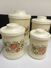 Vintage Set of 4 Cream with Vegetable Design Metal Canister Set with Lids