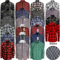 MENS THICK LUMBERJACK PADDED SHIRT QUILTED FLANNEL WORK ZIP BUTTON HOODIE JACKET