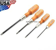 Grace 4pc Phillips Screwdriver Set P0 P1 P2 P3 Wood Handle Made in USA