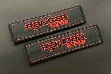 Ford Ranger XLT black seat belt shoulder pads covers Red embroidery 2PCS
