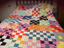 """Beautiful quilt top 61"""" by 74"""" made up of 16 square blocks of 2 1/2"""" squares"""