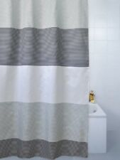 Blue Canyon Horizon Grey Black White Stripe Eyelet Shower Curtain 180 x 180cm