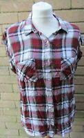 Next-Ladies Red-White & Black Check Sleeveless Shirt Size 12