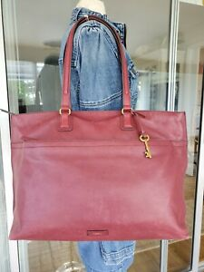 Fossil Julia Burgundy Wine Leather XL Work Tote Bag